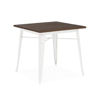 Amalfi Glossy White and Elm Wood Top Steel Dining Table