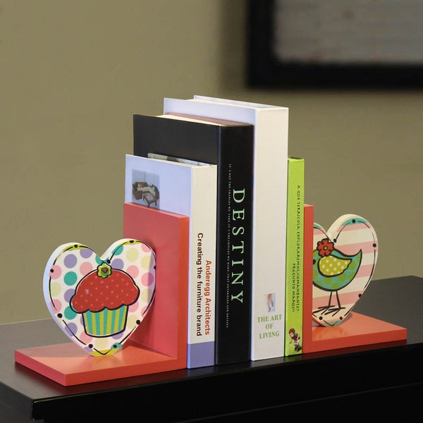 Children S Wood Cupcake And Bird Bookends Set Of 2