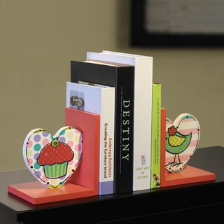 Children's Wood Cupcake and Bird Bookends (Set of 2)