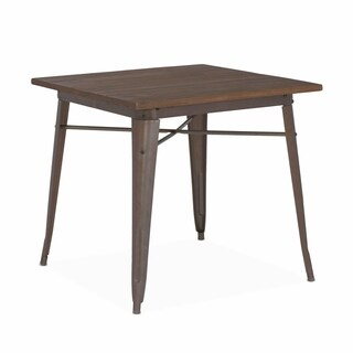 Amalfi Rustic Matte Elm Wood Top Steel Dining Table 30 Inch - Brown/Rust