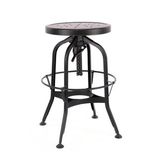Toledo Adjustable Black Steel Bar Stool 25-29 Inch