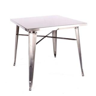 Amalfi Gunmetal Steel Dining Table 30 Inch - Grey/Silver