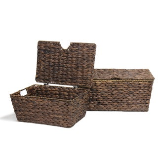 Adeco Multi-Purpose Seagrass Woven Basket Chest with Lid, Dark Brown (Set of 2)