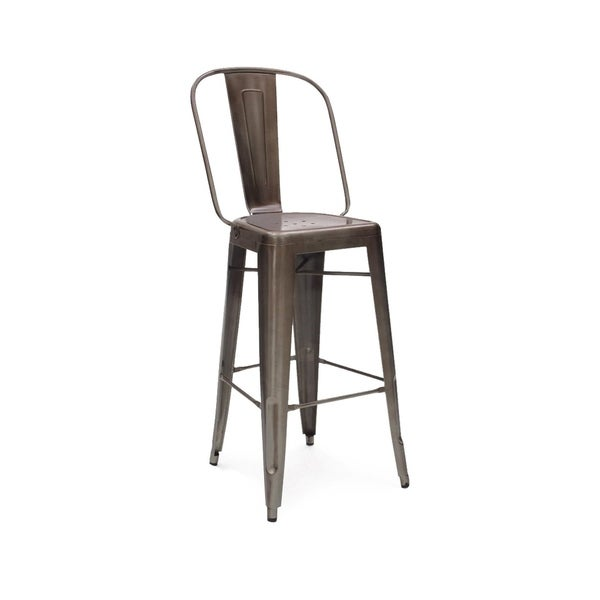 Amalfi Rustic Matte Steel High Back Bar Chair 30 Inch Set