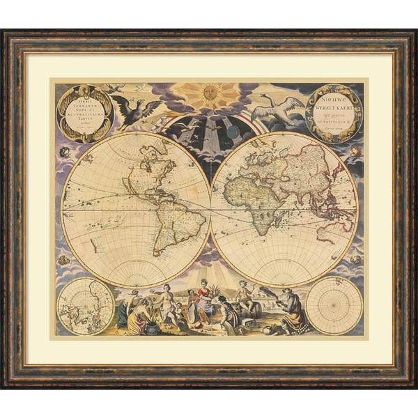 Shop framed art print new world map 1676 by pieter goos 26 x 22 framed art print x27new world map 1676x27 by gumiabroncs Choice Image