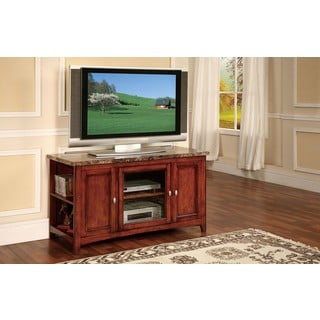 Finely Cherry TV Stand with Faux Marble Top