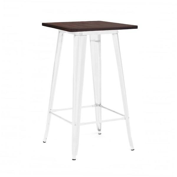 Amalfi Glossy White Elm Wood Top Steel Bar Table 42 Inch