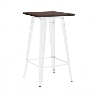 Amalfi Glossy White and Elm Wood Steel Top Bar Table