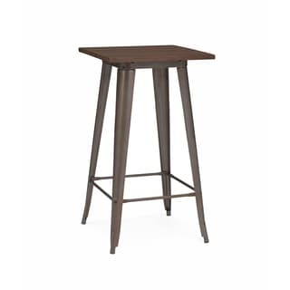 Amalfi Rustic Matte and Elm Wood Top Steel Bar Table