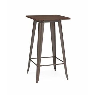 Amalfi Rustic Matte Elm Wood Top Steel Bar Table 42 Inch