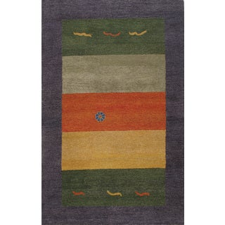 Modern Multicolored Wool Rug (5' x 8')