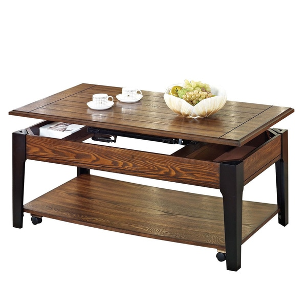 Magus Brown Oak And Black Finished Lift Top Coffee Table Free Shipping Today