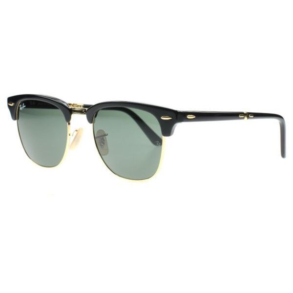 38a8a6b8060 Ray-Ban Clubmaster RB2176 Unisex Black Gold Frame Green Lens Folding  Sunglasses