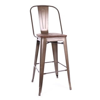Amalfi Rustic Matte Elm Wood Steel Bar Chair 30-inch (Set of 4)
