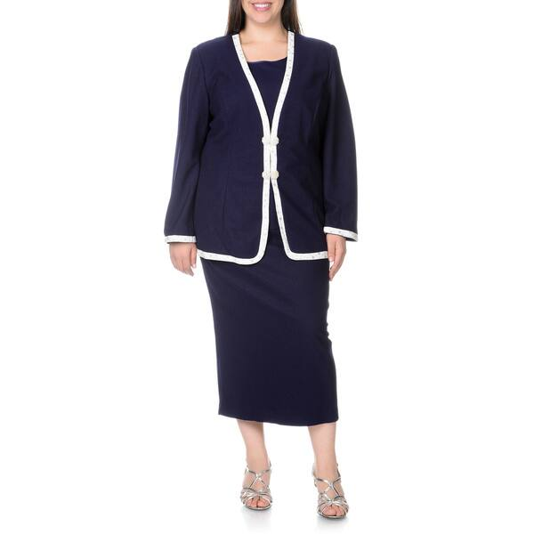 Shop Mia-Knits Collection Women\'s Plus Size Navy/White 3 ...