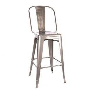 Amalfi Gunmetal Steel High Back Bar Chair 30-inch (Set of 4) - N/A