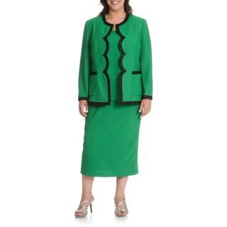 Mia-Knits Collection Women's Plus Size Scalloped Edge 3-piece Skirt Suit
