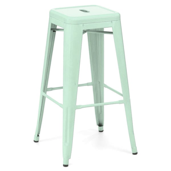 Amalfi Stackable Glossy Peppermint Steel Bar Stool Set Of