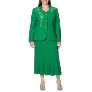 Mia-Knits Collection Women's Plus Size Rhinestone Design 2-piece Skirt Suit