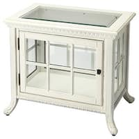 Cottage White Wood/ Glass Side Curio Table