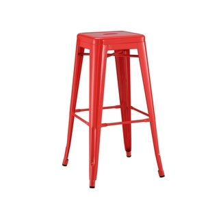 Amalfi Stackable Glossy Red Steel Bar Stool (Set of 4)