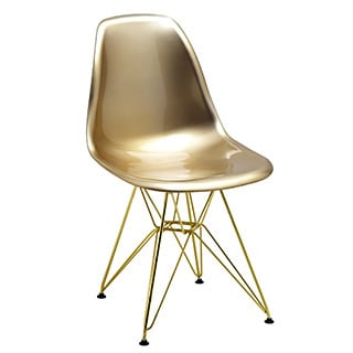 Mid-century Gold Dining Chair with Gold Wire Base (Set of 5)