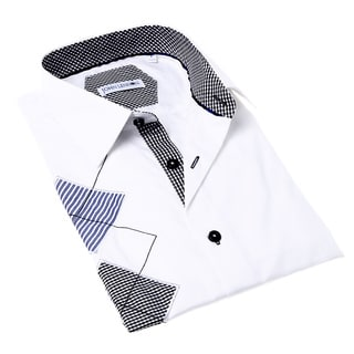 John Lennon Men's White and Black Argyle Button-up Sport Shirt