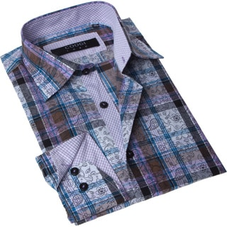Brio Milano Men's Contemporary Fit Brown and Blue Plaid Button-up Dress Shirt