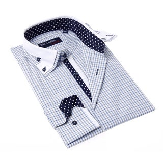 Max Lauren Men's Blue and Grey Check Button-up Dress Shirt