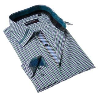 Max Lauren Men's Blue and Green Plaid Button-up Dress Shirt