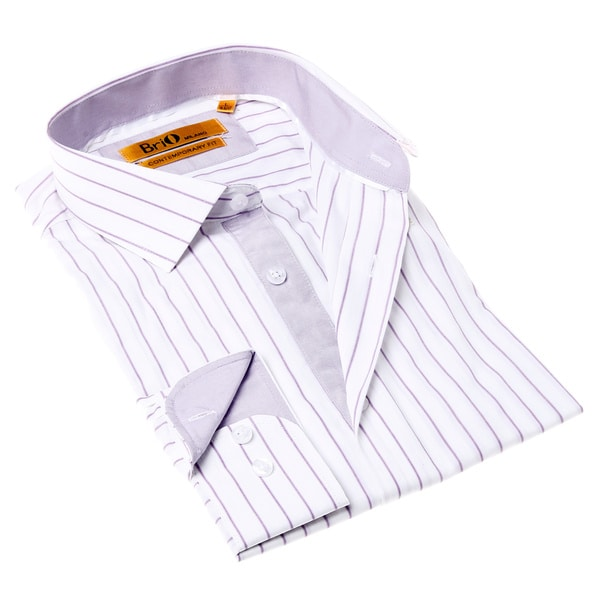 Shop Brio Milano Men s White and Purple Stripe Button-up Dress Shirt - Free  Shipping On Orders Over  45 - Overstock - 9644008 d6b7733804cc