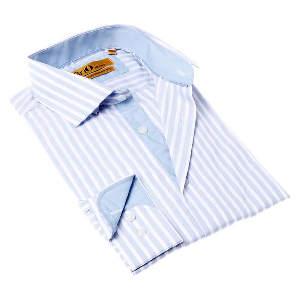 Brio Milano Men 39 S White And Blue Stripe Button Up Cotton