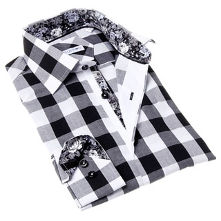 John Lennon Men's Black and White Check Button-up Sport Shirt