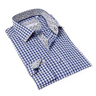 John Lennon Men's Blue and White Gingham Button-up Sport Shirt