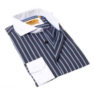Brio Milano Men's Grey and Blue Stripe Button-up Dress Shirt