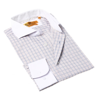 Brio Milano Men's Button-up Blue and White Check Dress Shirt
