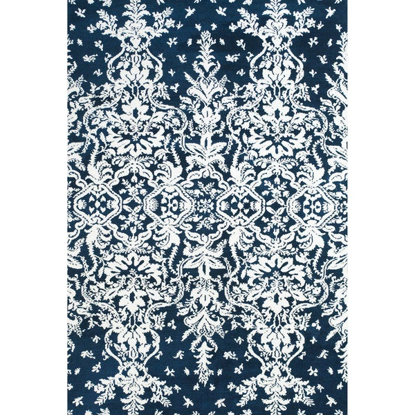 """Grand Bazaar Power Loomed Polyester Pia Rug in Midnight Blue 3'-6"""" x 5'-6"""" - 3'6"""" x 5'6"""""""