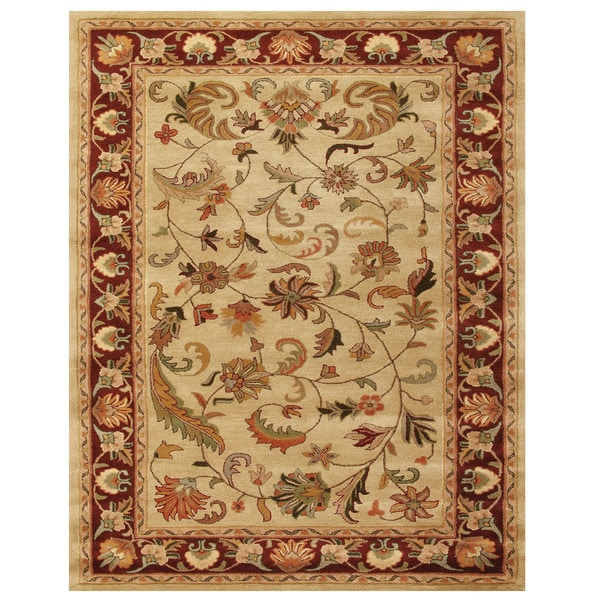 Grand Bazaar Tufted Wool Pile Adair Rug in Ivory/ Red - 5' x 8'