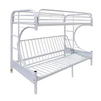 Shop Donco Kids Glossy Black White Metal C Shaped Twin Over Futon Bunk Bed Free Shipping Today