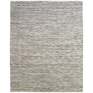 Grand Bazaar Hand Woven Wool & Cotton Boteh Rug in Dark Blue / Gray 5' x 8'