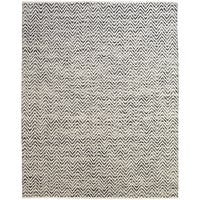Grand Bazaar Hand Woven Wool & Cotton Boteh Rug in Dark Blue / Gray 5' x 8' - 5' x 8'