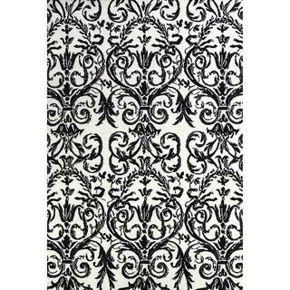 Grand Bazaar Power Loomed Polyester Karlin Rug in Ebony / White 5' x 8'