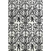 Grand Bazaar Power Loomed Polyester Karlin Rug in Ebony / White - 5' x 8'