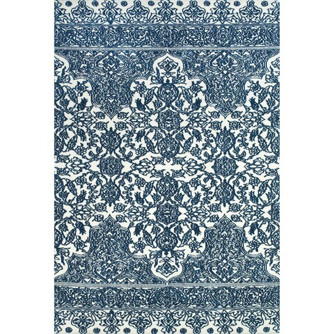 Grand Bazaar Power Loomed Polyester Karlin Rug in Indigo / White - 5' x 8'