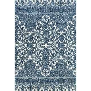 Grand Bazaar Power Loomed Polyester Karlin Rug in Indigo / White 5' x 8'