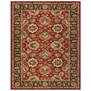 Grand Bazaar Tufted Wool Pile Adair Rug in Red/ Black (8' x 11') - 8' x 11'