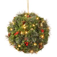 16-inch Crestwood Spruce LED Kissing Ball with Silver Bristle, Cones, Red Berries and Glitter