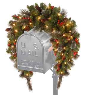 3 feet crestwood led spruce mailbox cover with silver bristle cones red berries
