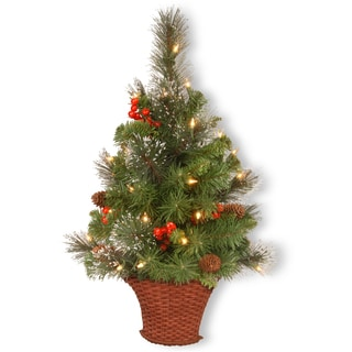 3-foot Crestwood Spruce Half Tree Basket with Silver Bristle, Cones, Red Berries and Glitter