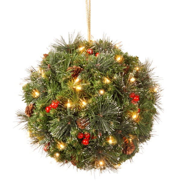 12-inch Crestwood Spruce 35 Warm White LED Kissing Ball with Silver Bristle, Cones, Red Berries and Glitter